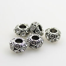 5pcs Czech Crystal Antique Silver Round Charm Beads for European Bracelet Making
