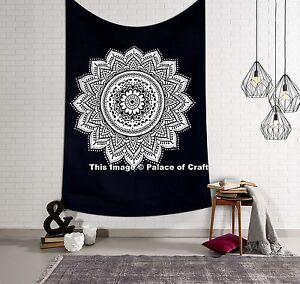 Wall Hanging Bedspread Twin Size Decorative Ombre Mandala Tapestries Wall Boho