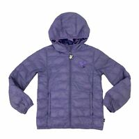 Disney Mickey Mouse Puffer Jacket Girls Size 10 12 Purple Camo Zip Hoodie *READ