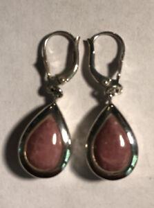 CNA 925 Sterling Silver Pink Rhodochrosite Artisan Teardrop Earrings