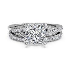 1.50 Ct Diamond Ring Size 6 7 Princess Cut Bridal 14K Gold Engagement Band Sets