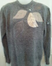 80'S SWEATER ANGORA Gray Beaded Embellished UNO&UNA Goldberg MOM Costume?