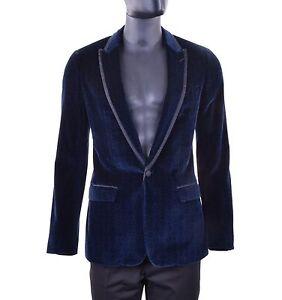 DOLCE & GABBANA TAORMINA Printed Velvet Velour Tuxedo Blazer Jacket Blue 05263