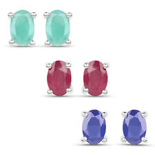 2.96ct Genuine Emerald Ruby& Sapphire Gemstone 925 Sterling Silver Stud Earrings
