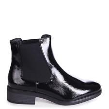 LENNI Black Patent Leather Classic Slip On Chelsea Boot