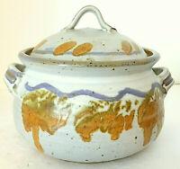 "Studio Pottery Covered Casserole White Brown Blue Signed 7""H 7"" diam 2.5 Qts EUC"