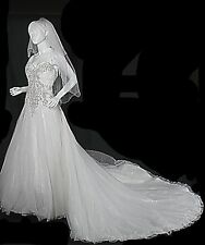 Allure Wedding Dress Strapless Gown  Swarovski Crystals Tulle Size 8