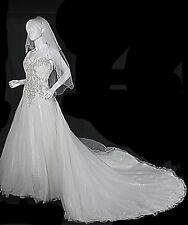 Allure Wedding Dress Strapless Gown  Swarovski Crystals Tulle Size 8