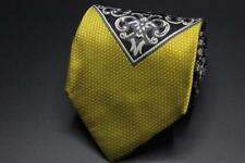 GIANNI VERSACE Atelier Silk Tie. Yellow w Black & Gray Medusa Logo.