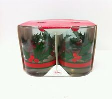 SET OF 4 - NEW LIBBEY HOLIDAY HOLLY BERRIES 14 oz DOUBLE OLD FASHIONED GLASSES b