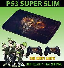 PLAYSTATION PS3 SUPER SLIM ABSTRACT SKULL WIRE DARK SKIN STICKER & 2 PAD SKIN