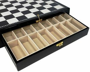 HIGH GLOSS 17 1/2 inch Black and White STORAGE Chess Board W/ 2 DRAWERS