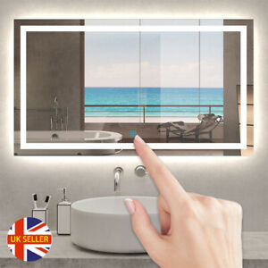 LED Illuminated Bathroom Mirror with Lights Demister Touch Sensor Wall Mounted