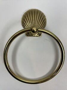 "Vtg Gatco Solid Brass Towel Ring Beachy Style Seashell 6"" Diameter"