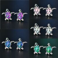 1 Pair Woman Fashion 925 Silver Turtle Blue Fire Opal Charm Stud Earring Gifts