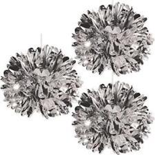 Metallic Silver 16-inch Fluff Balls (3 pack)