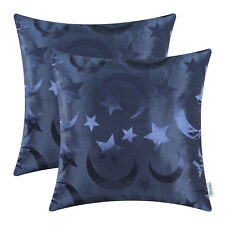 2Pcs Navy Blue Cushion Covers Pillows Case Jacquard Stars Moon Sofa Decor 18x18""