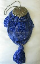 Antique Gold Round Frame Tan Crochet Cobalt Blue Tassel Bead Flapper Purse