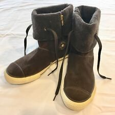 Converse All Star Junior Size 3 Brown Suede & Faux Fur Cuff High Top Shoes Boots