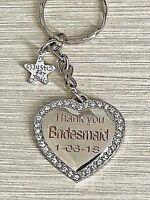 Personalised Wedding Bride Bridesmaid Mother of the Bride Keepsake Gift Keyring