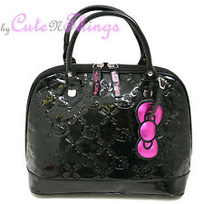 Sanrio Hello Kitty Embossed Hand Bag Black Shiny Shoulder Satchel Loungefly