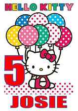 "Hello Kitty Birthday Iron On Transfer, 5""x7.5"",  for LIGHT Colored Fabric"