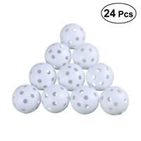 24pcs Plastic Hollow Golf Practice Balls Balls Air Flow Ball Wiffle Training NEW
