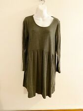 J. Jill Pure Jill Green Striped Long Sleeve Dress Womens Size Medium M
