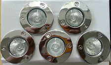 5 x GU10 Recessed Round Studded Chrome Fixed Downlight Spotlight 240V FREE BULBS