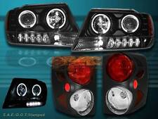 99-04 JEEP GRAND CHEROKEE TWO HALO LED PROJECTOR HEADLIGHTS & BLACK TAIL LIGHTS