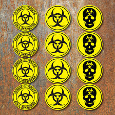 Bio Hazard Warning Zombie Sticker Set Pack Yellow Black biohazard car Decals