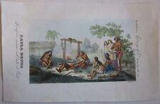 1845 SACRIFICIO UMANO TAHITI acquaforte C. Marmocchi human sacrifice Polynesia