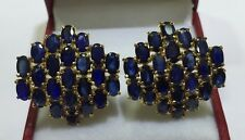 14k Solid Yellow Gold Omega Back Earrings 13.80CT Natural Sapphire Oval 8.15GM