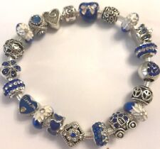 ❤️Authentic PANDORA Silver BRACELET  w/ Navy European Charm Beads Deluxe & Box❤️