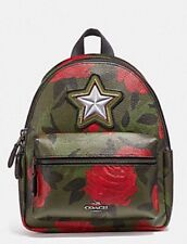 Coach F25869 Mini Charlie Backpack With Camo Rose Floral Print Blush Multi $295