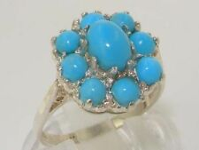 Turquoise Cluster Sterling Silver Fine Rings