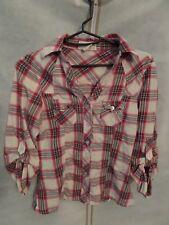 PASSPORTJuniors/Womens Button Down Plaid Shirt Top W/TAB Sleeves L/S SIZE SM