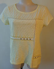 Paz Torras New  size 10/40 cotton yellow top designer NWT short sleeves RRP$138