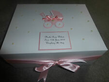 Personalised Memory Box New Baby Keepsake Box pink blue Extra large 40x30x15cm