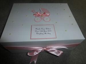 Personalised Memory Box New Baby Keepsake Box pink blue Extra Large 40x30x15cm