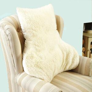 LUMBAR BACK SUPPORT FAUX-SHEEPSKIN CHAIR CUSHION/PILLOW - 100% Natural Wool