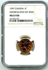 1997 CANADA CENT NGC MS67 RD UNCIRCULATED SET ISSUE COIN TOP POP=2 RARE PENNY