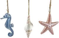 Pearl Finish Coastal Beach Ornament Sea Whelk Shell Starfish Seahorse 3 Assort