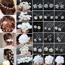 20/40PCS Wholesale Lot Wedding Bridal Pearl Flower Crystal Hair Bobby Pins Clips