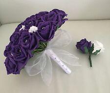 WEDDING BOUQUET ARTIFICIAL FLOWERS PURPLE WHITE FOAM ROSE BRIDE GROOM BUTTONHOLE