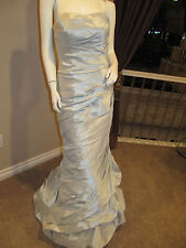 ALLURE Wedding Bridal Gown Prom Dress Size 8 Strapless Silver Blue Long Formal