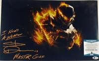 STEVE DOWNES MASTER CHIEF SIGNED HALO 11x17 METALLIC PHOTO BAS COA 011