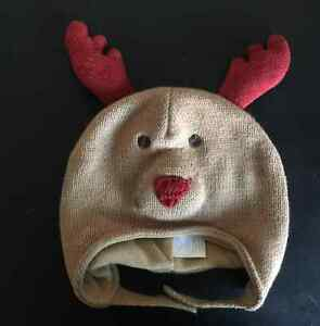 CHILDRENS PLACE REINDEER CHRISTMAS HAT HOLIDAY COSTUME WINTER WEAR 6-12 M