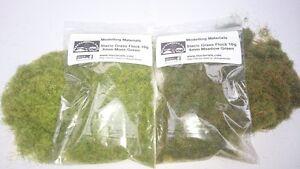 Static Grass 6mm Twin Pack - Moss/Meadow Green - Grass Flock First Class P&P