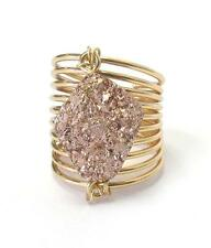 H8 Druzy Spring Wire Fashion RING One Size Gold Rose NEW